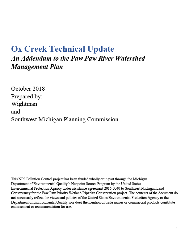 Ox Creek Technical Update Cover