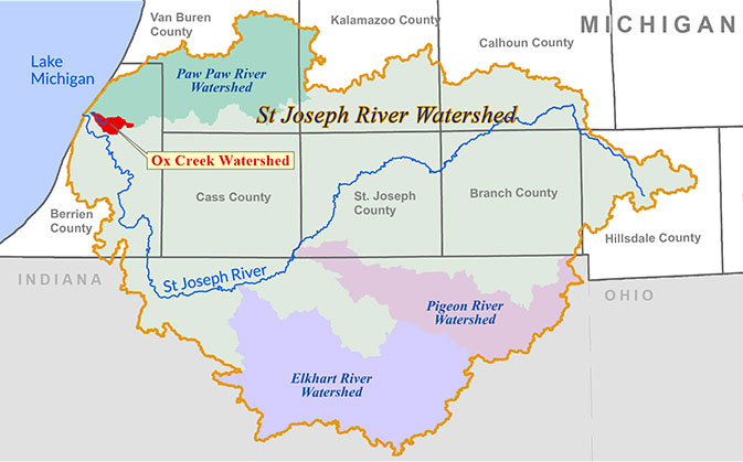 map of ox creek watershed location