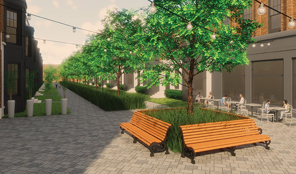 vision rendering of orchards mall greenery