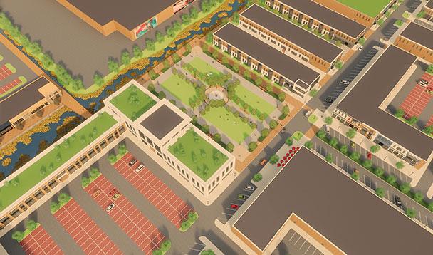 aerial vision rendering of pipestone park plaza